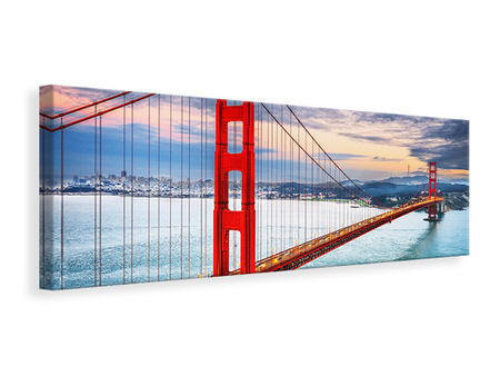 Panoramic Canvas Print The Golden Gate Bridge At Sunset