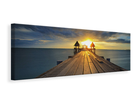 Panoramic Canvas Print Sunset At The Wooden Bridge
