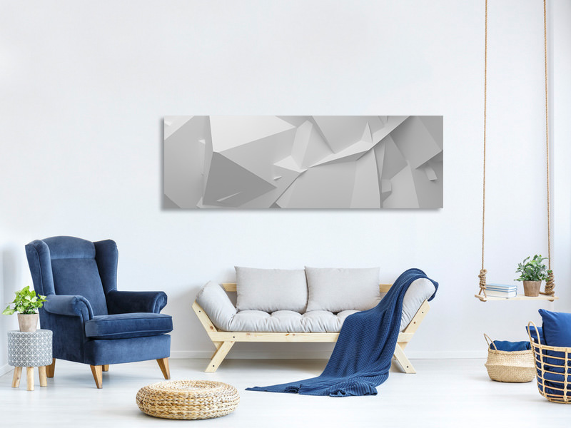 Panoramic Canvas Print 3D-Grid
