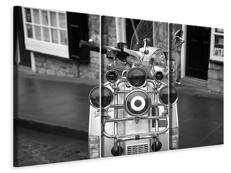3 Piece Canvas Print Retro scooter