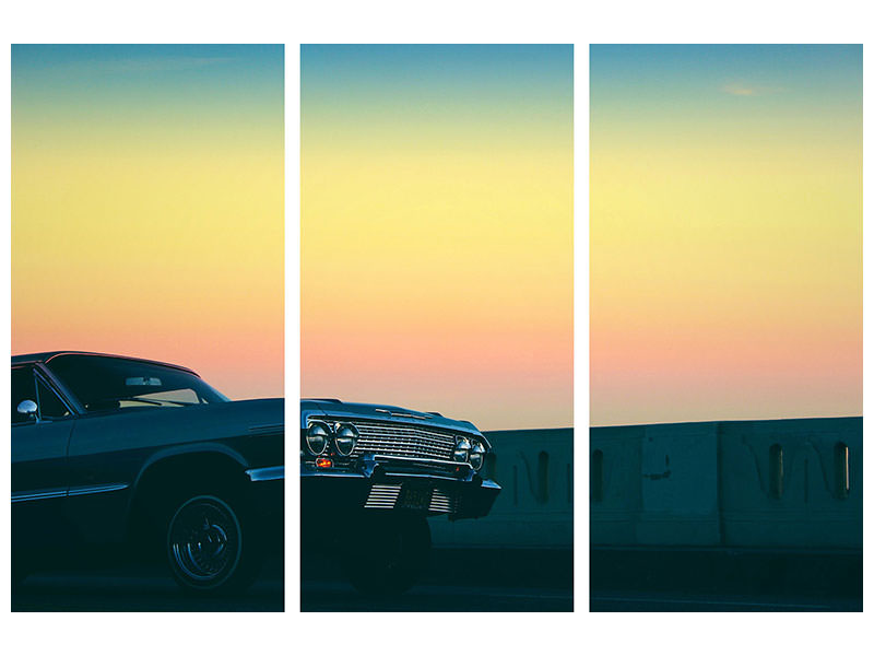 3 Piece Canvas Print Vintage car in the evening light