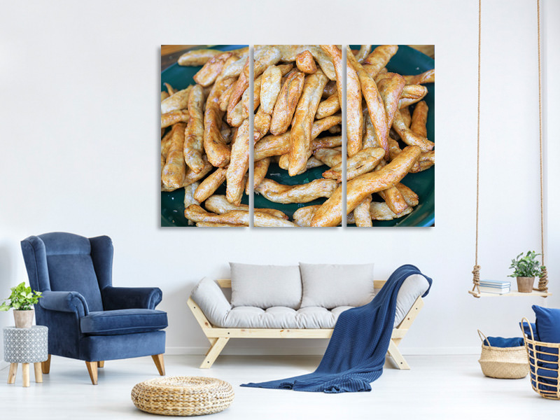 3 Piece Canvas Print French fries
