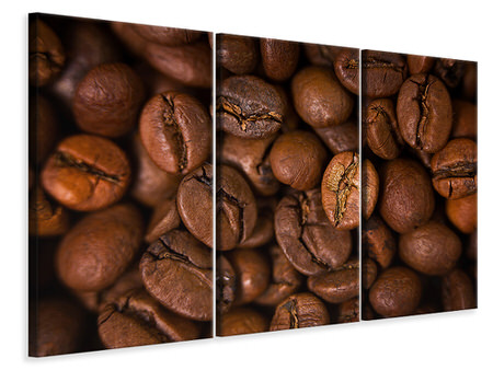 3 Piece Canvas Print Close Up Coffee Beans