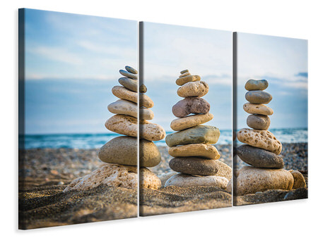 3 Piece Canvas Print Three Stone Stacks
