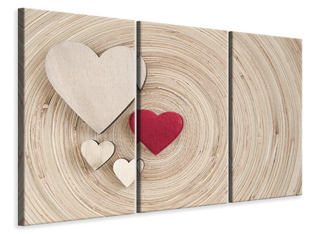 3 Piece Canvas Print Hearts