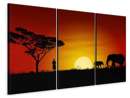 3 Piece Canvas Print African Steppe Elephant