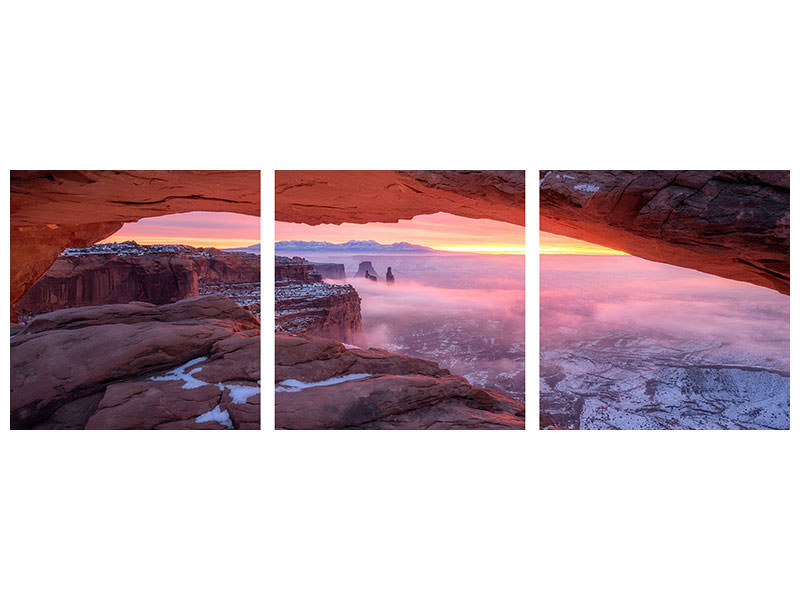 Panoramic 3 Piece Canvas Print The Moment Right Before Sunrise