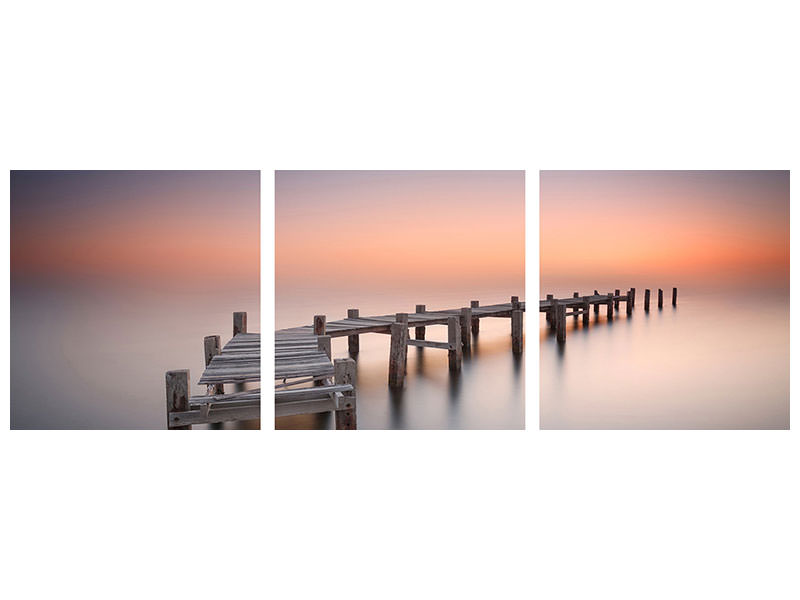Panoramic 3 Piece Canvas Print Old Pier Ii