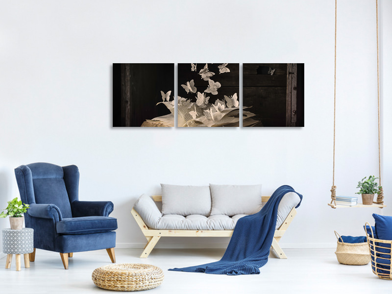 Panoramic 3 Piece Canvas Print Lepidopterology