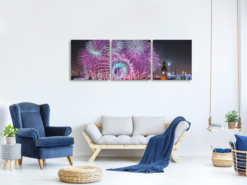 Panoramic 3 Piece Canvas Print New Year Fireworks
