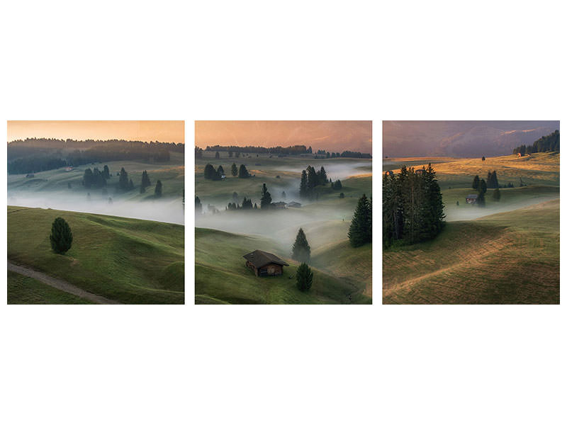 Panoramic 3 Piece Canvas Print Alpe Di Siusi