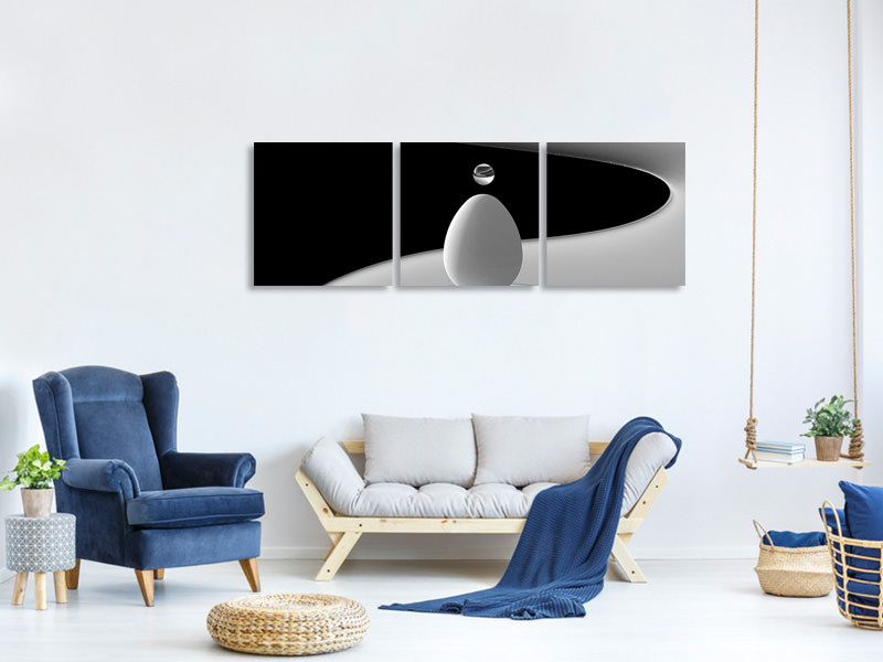 Panoramic 3 Piece Canvas Print Drops And Curve