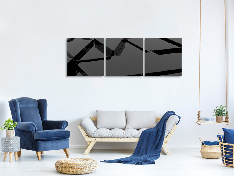 Panoramic 3 Piece Canvas Print 3D Triangular Surfaces