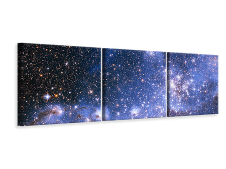 Panoramic 3 Piece Canvas Print Starry Sky