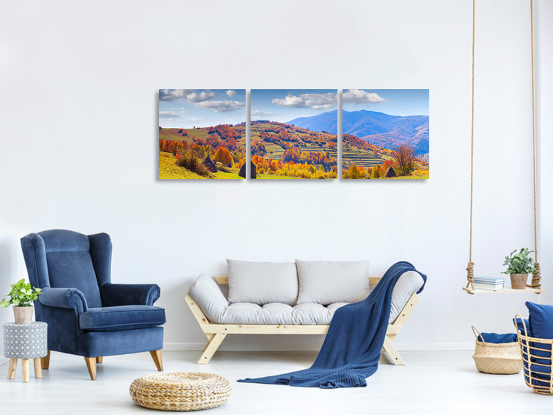 Panoramic 3 Piece Canvas Print Autumnal Mountain Landscape