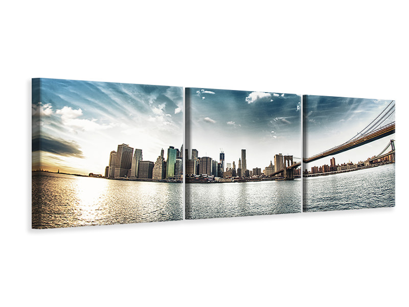Panoramic 3 Piece Canvas Print Brooklyn Bridge From The Other Side