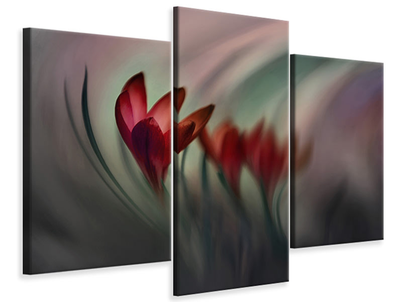 Modern 3 Piece Canvas Print Krokus