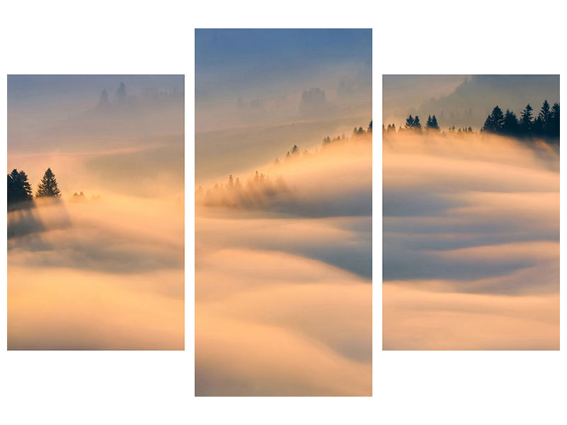Modern 3 Piece Canvas Print Misty Morning A