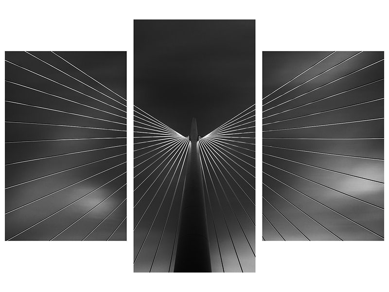 Modern 3 Piece Canvas Print Angel In Black And White