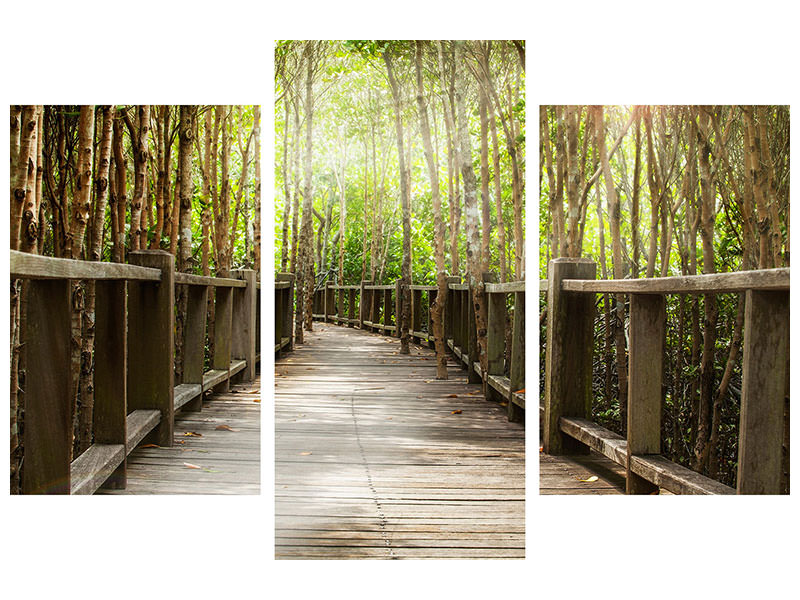 Modern 3 Piece Canvas Print Wooden Bridge