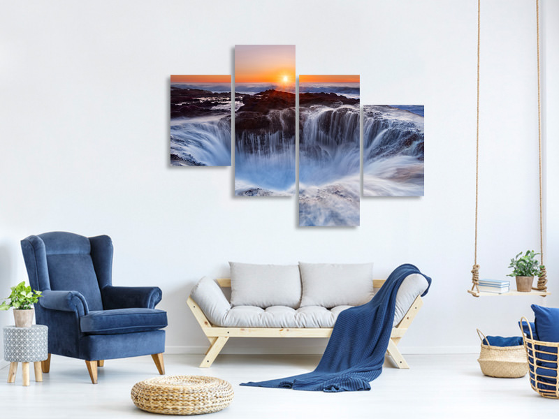 Modern 4 Piece Canvas Print Thors Well