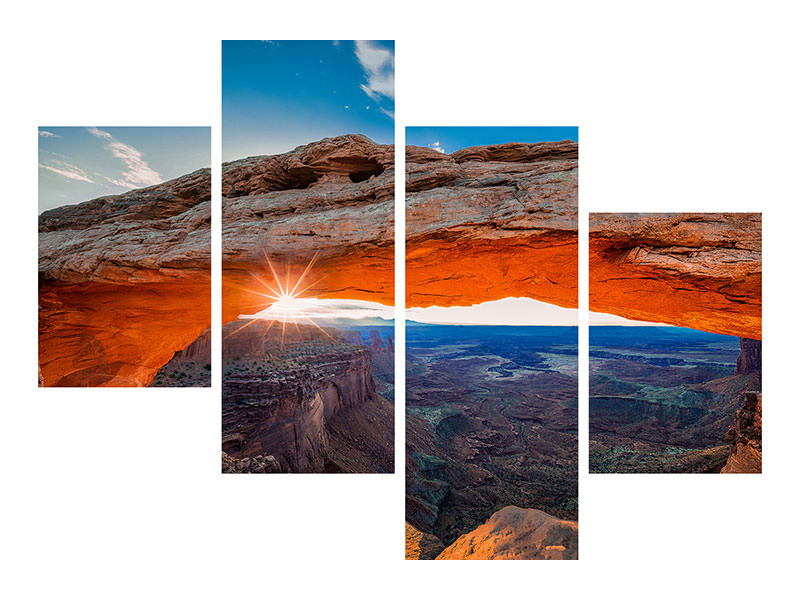 Modern 4 Piece Canvas Print Sunrise At Mesa Arch