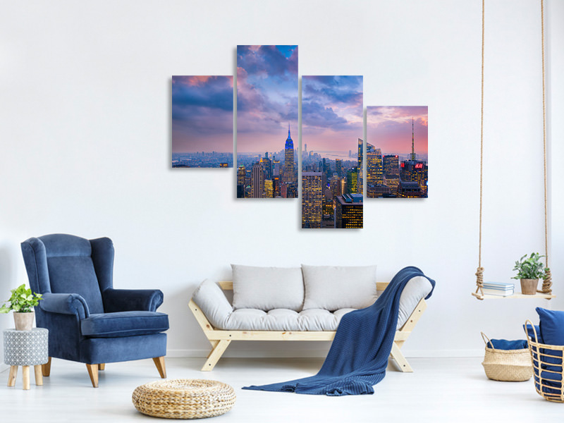 Tableau sur Toile en 4 parties moderne Top Of The Rock