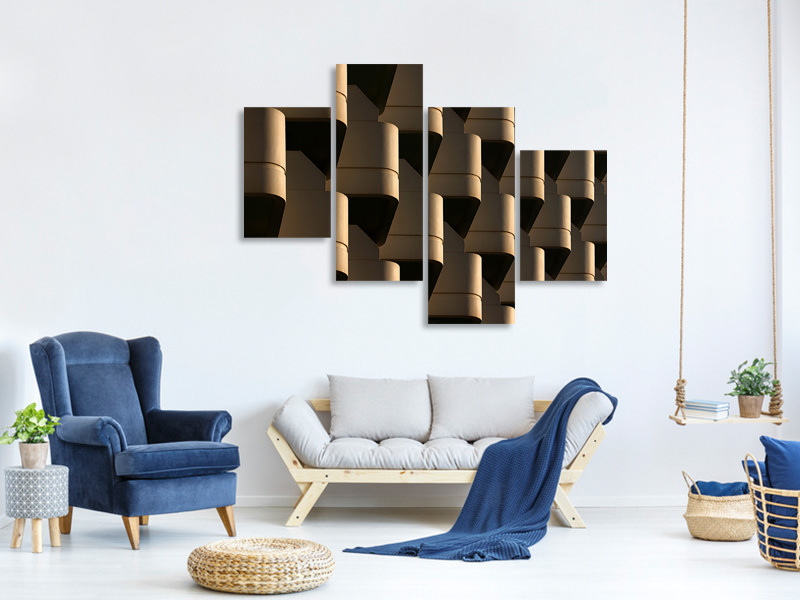 Modern 4 Piece Canvas Print Side By Side