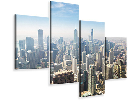 Modern 4 Piece Canvas Print Skyscraper Chicago
