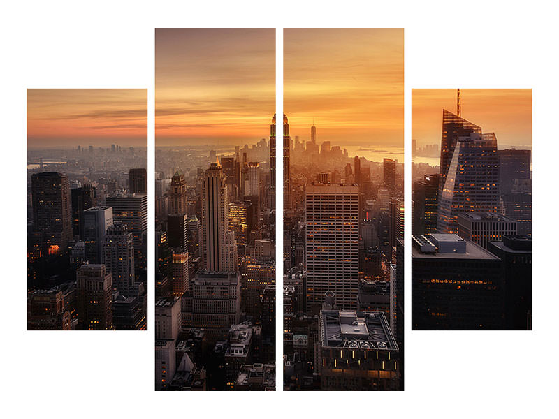 Stampa su tela 4 pezzi Manhattan Light