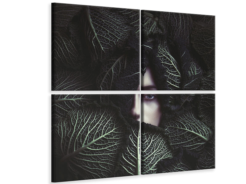 4 Piece Canvas Print Cabbage