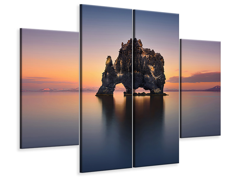 4 Piece Canvas Print Hvitserkur - The Stone Rhino