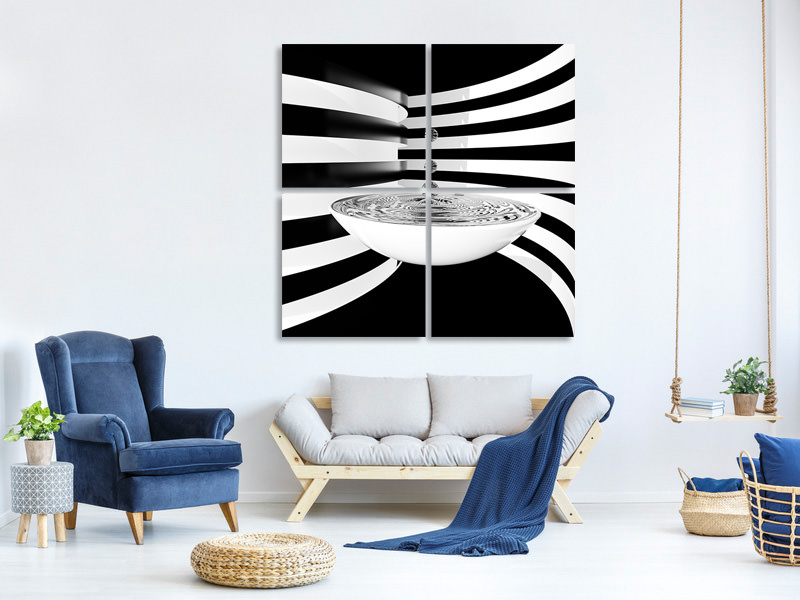 4 Piece Canvas Print Water Strips