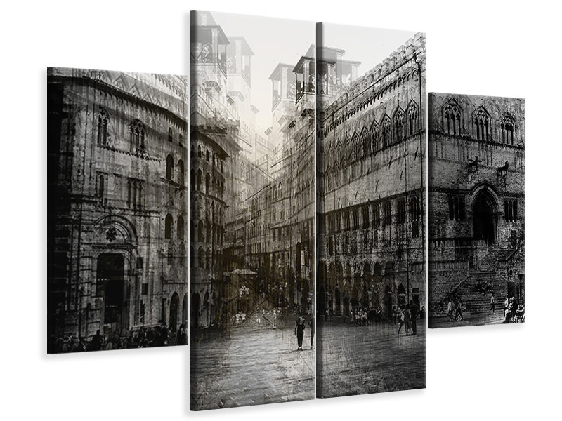 4 Piece Canvas Print Walking In The Square