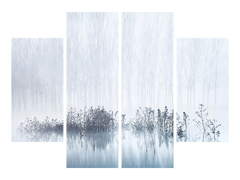 Tableau sur Toile en 4 parties Cold and Foggy Morning In The Swamp