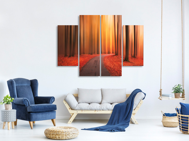 4 Piece Canvas Print Path To Unknown