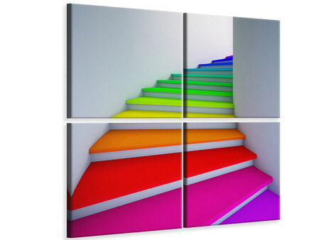 4 Piece Canvas Print Colorful Stairs
