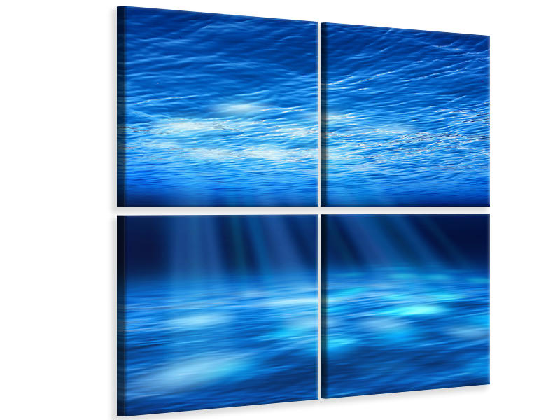4 Piece Canvas Print Light Under Water
