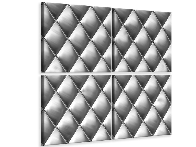 4 Piece Canvas Print 3D Lozenges Silver-Grey
