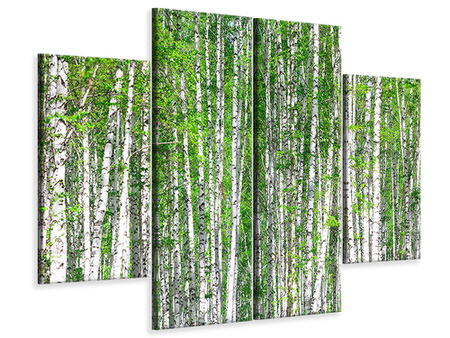 4 Piece Canvas Print The Birch Forest