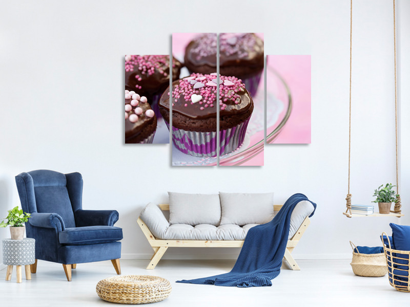 4 Piece Canvas Print Muffins
