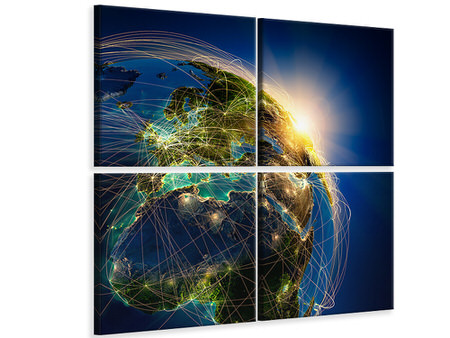 4 Piece Canvas Print Our Planet Earth