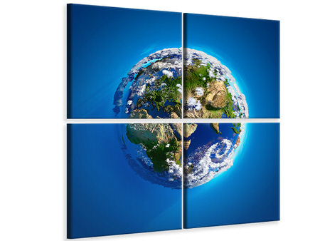 4 Piece Canvas Print Planet Earth