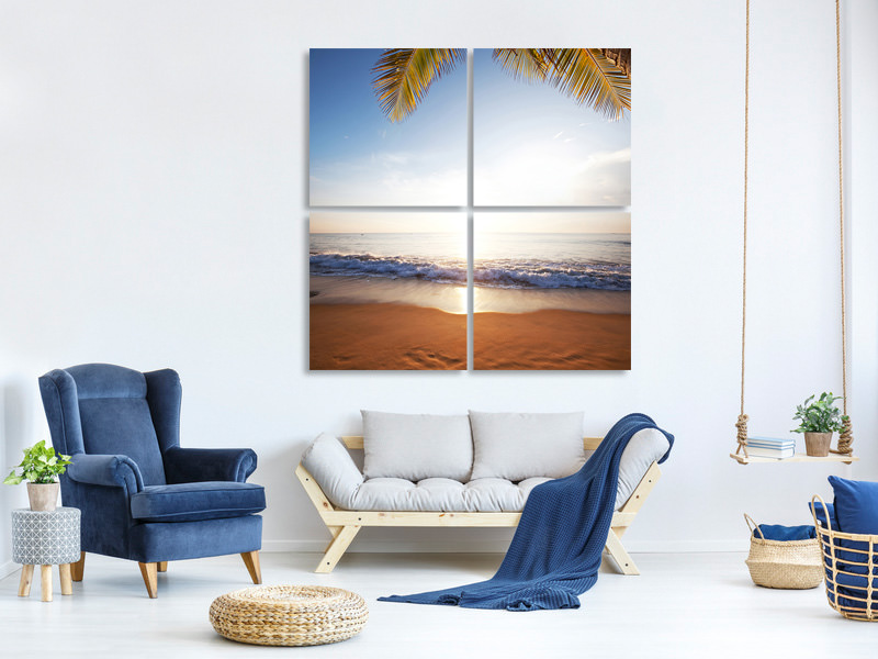 4 Piece Canvas Print Figures In The Sand