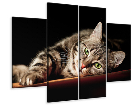 4 Piece Canvas Print Relaxed Cat