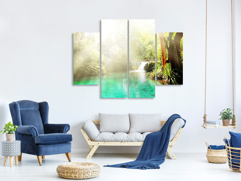 4 Piece Canvas Print The Green Lagoon
