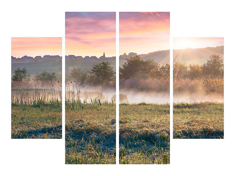 4 Piece Canvas Print Sunset On hill