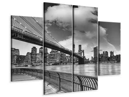 4 Piece Canvas Print Skyline Black And White Photography Brooklyn Bridge NY