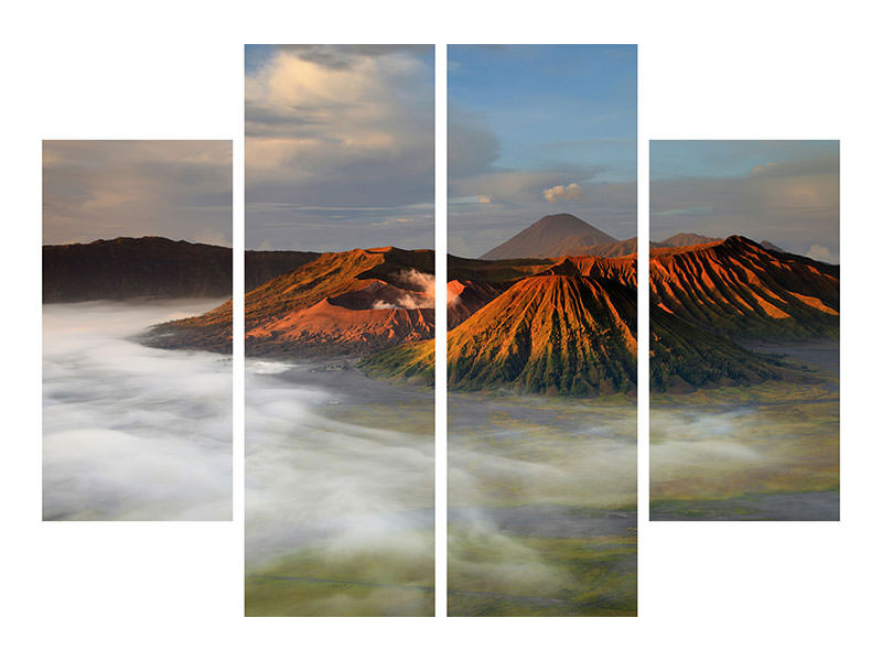 4 Piece Canvas Print The Bromo Volcano