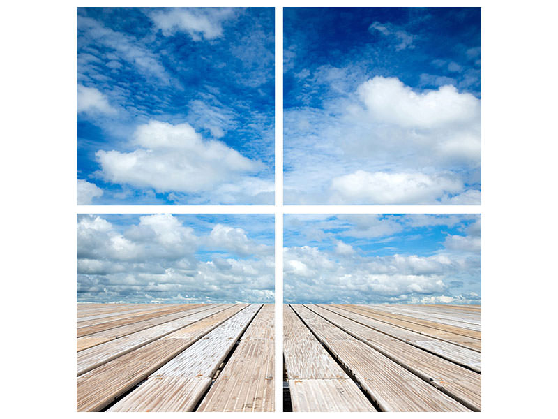 4 Piece Canvas Print Photo Wallaper High Above The Clouds